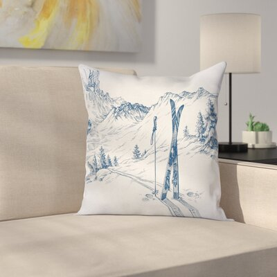 Winter Ski Sport Mountain View Square Pillow Cover Size: 24 x 24