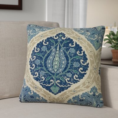 Desroches Ikat Linen Throw Pillow Color: Blue