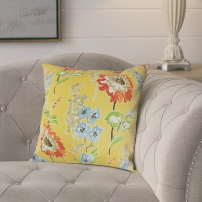 Elissa Floral Cotton Throw Pillow Color: Gold, Size: 18 x 18