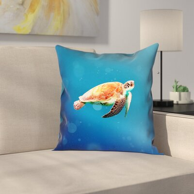 Sea Turtle 100% Cotton Pillow Cover Size: 14 x 14