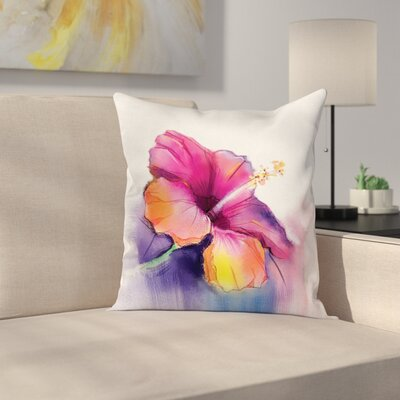 Hibiscus Flower Square Pillow Cover Size: 18 x 18