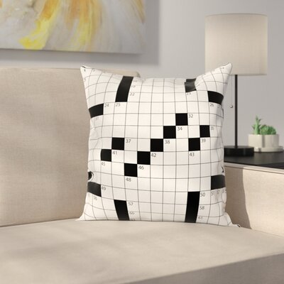 Puzzle Game Grid Square Cushion Pillow Cover Size: 16 x 16