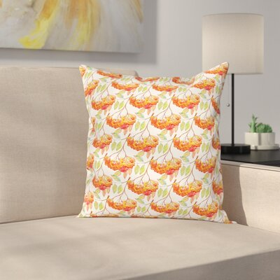 Watercolor Ashberry Leaf Square Pillow Cover Size: 16