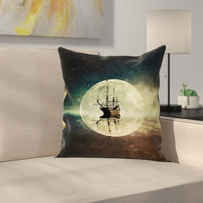 Ocean Old Ship Sea Moonlight Square Pillow Cover Size: 16 x 16