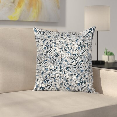 Music Doodle Art Square Pillow Cover Size: 24 x 24