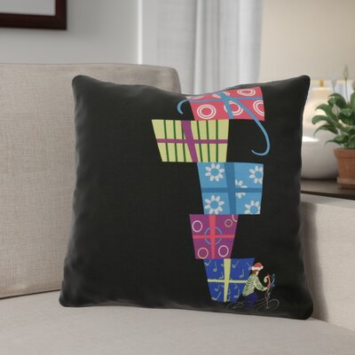 Christmas Presents Print Outdoor Throw Pillow Size: 18 H x 18 W, Color: Black