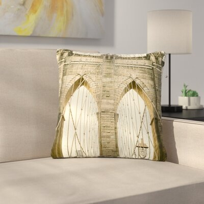 Ann Barnes Brooklyn Bridge Sunset Photography Outdoor Throw Pillow Size: 18 H x 18 W x 5 D