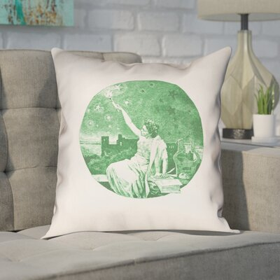 Enciso Blue Vintage Goddess Throwr Pillow Size: 14 x 14, Color: Green