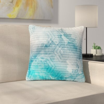 Matt Eklund Labyrinth Outdoor Throw Pillow Color: Blue/White, Size: 16 H x 16 W x 5 D