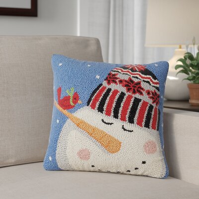 Electic Holiday Penguin Wool Throw Pillow