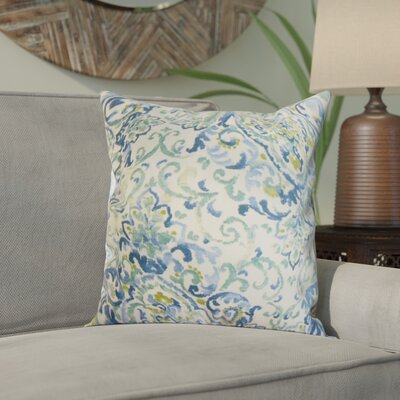 Calandre Floral Throw Pillow Color: Blue and Green, Size: 18 x 18