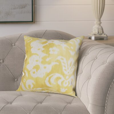 Plainville Floral Throw Pillow Color: Yellow, Size: 18x18