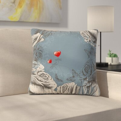 Heart and Roses Square Pillow Cover Size: 18 x 18