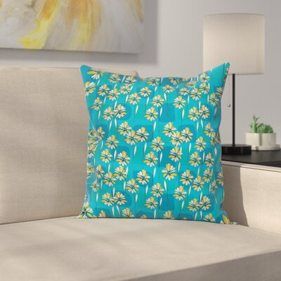 Modern Waterproof Floral Graphic Print Square Pillow Cover with Zipper Size: 18
