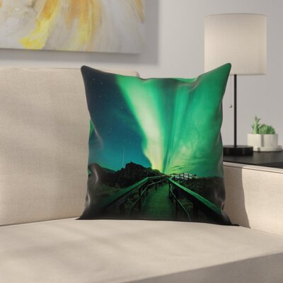 Wooden Bridge Solar Cushion Pillow Cover Size: 24 x 24
