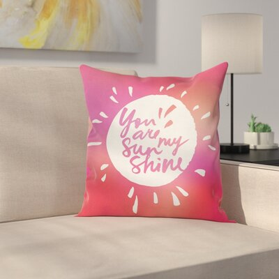 Romance Maroon Shining Sun Square Pillow Cover Size: 20 x 20