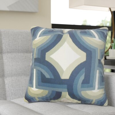 Randle Geometric Cotton Throw Pillow Color: Blue/White