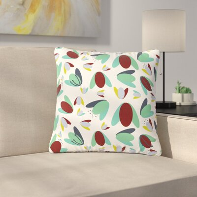 Love Midge 70s Floral Geometric Floral Outdoor Throw Pillow Size: 18 H x 18 W x 5 D, Color: Green