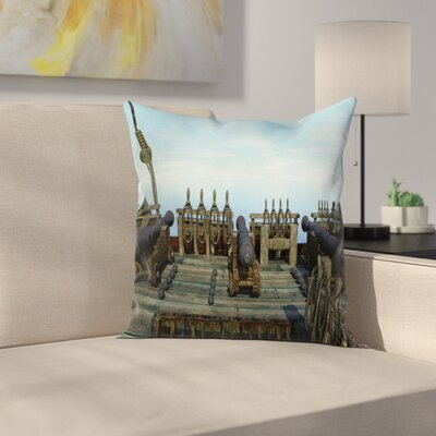 Cannon Weapon Pirate Square Pillow Cover Size: 20
