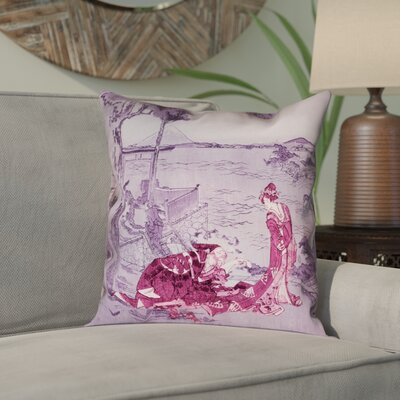 Enya Japanese Courtesan Square Double Sided Print Pillow Cover Color: Pink/Purple, Size: 14 x 14