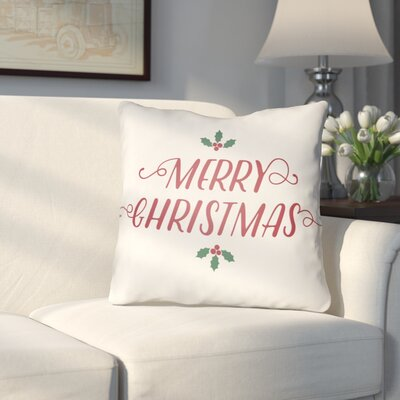 Morrell Merry Christmas Indoor/Outdoor Throw Pillow Size: 18 H x 18 W x 4 D, Color: White
