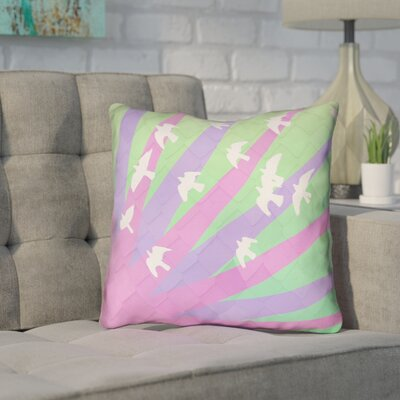 Enciso Contemporary Birds and Sun Throw Pillow Color: Purple/Green, Size: 18 H x 18 W
