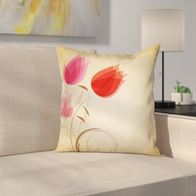Hazy Flowers Cushion Pillow Cover Size: 16 x 16