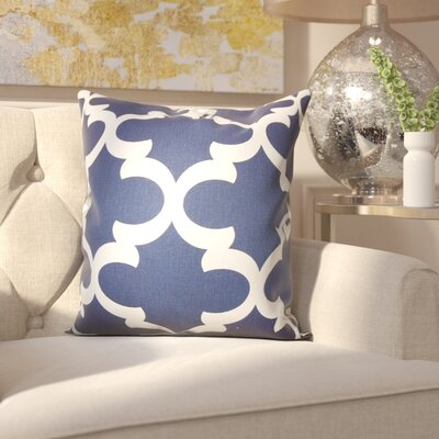 Clyburn 100% Cotton Throw Pillow Color: Blue, Size: 18 x 18