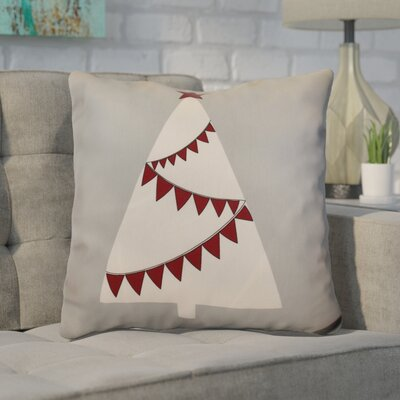 Christmas Garland Tree Throw Pillow Size: 16 H x 16 W, Color: Gray