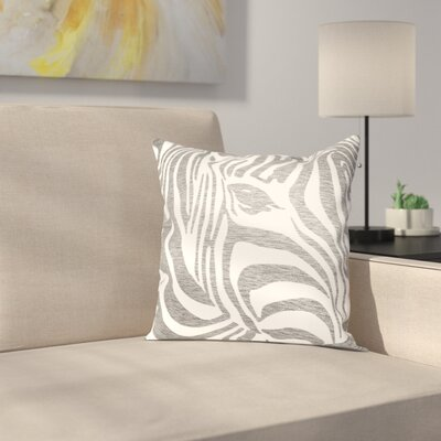 Zebra Outdoor Throw Pillow Size: 16 H x 16 W x 2 D, Color: Brown