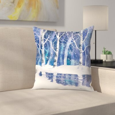 White Trees and Water Throw Pillow Size: 18 x 18