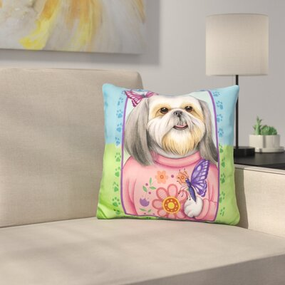 Shihtzu Butterfly Throw Pillow