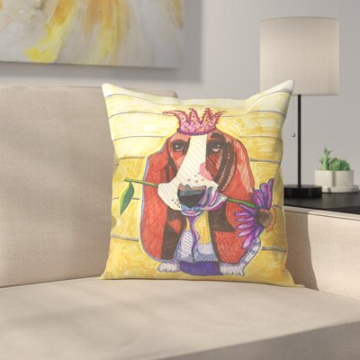 Basset Hound With Flower Throw Pillow Size: 18 x 18