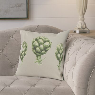 Laymon Throw Pillow Color: Light Gray/Green, Size: 16 x 16