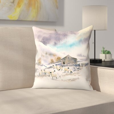 Winter Sheep and Barn Throw Pillow Size: 18 x 18