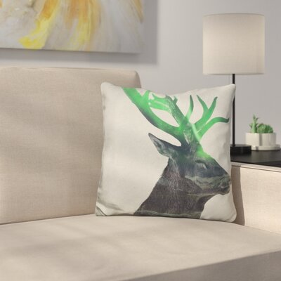 Deer in the Aurora Borealis Throw Pillow