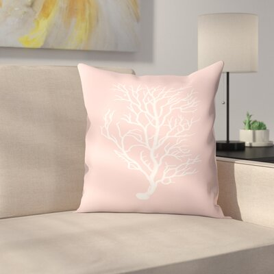 Mil Pink Branch Coral Throw Pillow Size: 16 x 16