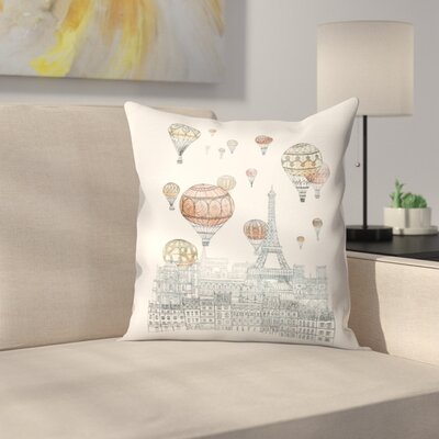 Voyages Over Paris Throw Pillow Size: 18 x 18