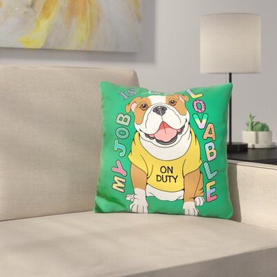 Bulldog Graphic Style Throw Pillow