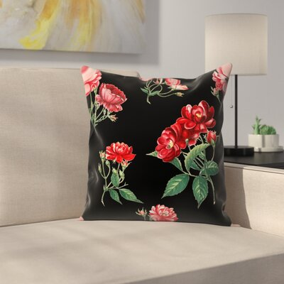 Mini Rose Throw Pillow Size: 16 x 16