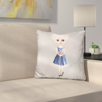 Sq Miss Bear Throw Pillow