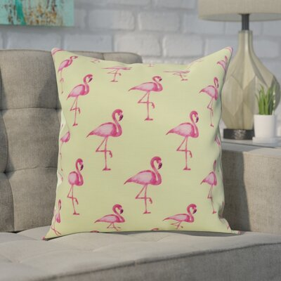 Carmack Flamingo Throw Pillow Color: Green, Size: 16 x 16