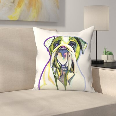 Dwayne Green Bulldog Throw Pillow Size: 16 x 16
