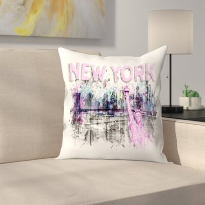 Modern Art New York City Skyline Splashes  Pink Throw Pillow Size: 16 x 16, Color: Pink
