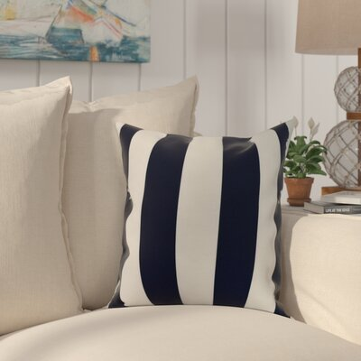 Harriet Rugby Stripe Throw Pillow Color: Navy, Size: 18 x 18