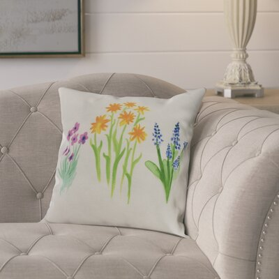 Laymon Flower Throw Pillow Color: Yellow, Size: 16 x 16