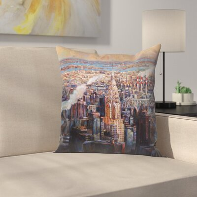 Dp New York Sunset Throw Pillow Size: 14 x 14