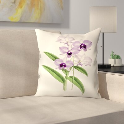 Fitch Orchid Dendrobium Phlaenopsis Throw Pillow Size: 18 x 18