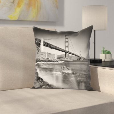 Golden Gate Bridge With Breakers Throw Pillow Size: 16 x 16