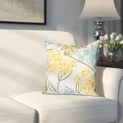 Greenwood Hydrangeas Throw Pillow Size: 18 H x 18 W, Color: Yellow